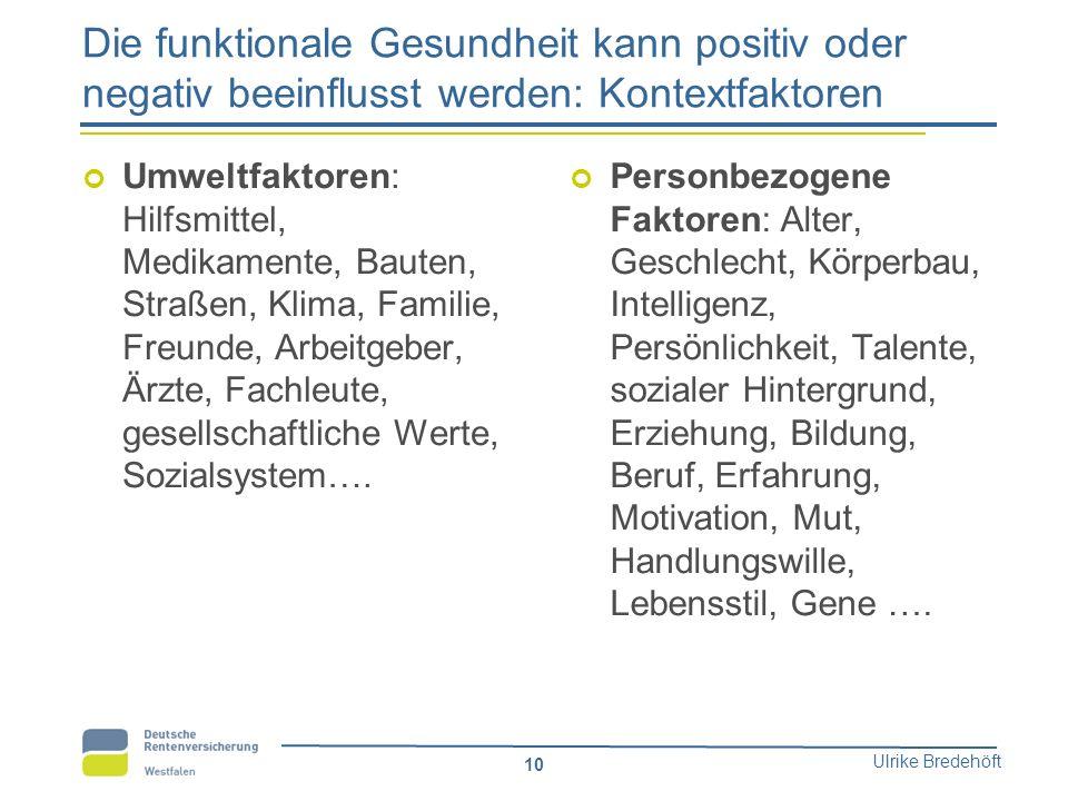 Ulrike Bredehöft 10 Die funktionale Gesundheit kann positiv oder negativ beeinflusst werden: Kontextfaktoren Umweltfaktoren: Hilfsmittel, Medikamente,