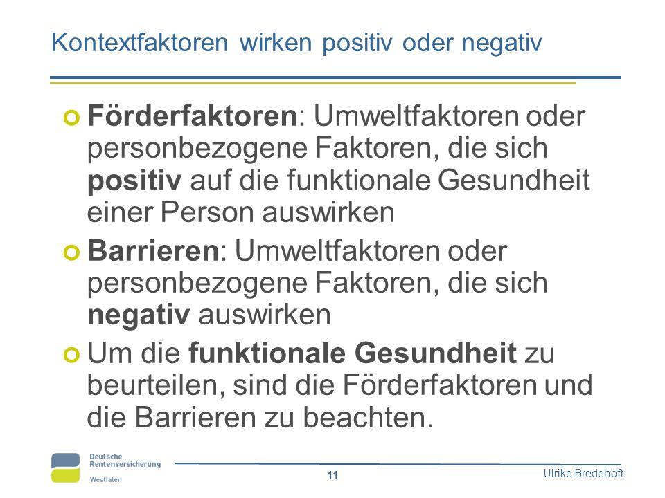 Ulrike Bredehöft 11 Kontextfaktoren wirken positiv oder negativ Förderfaktoren: Umweltfaktoren oder personbezogene Faktoren, die sich positiv auf die