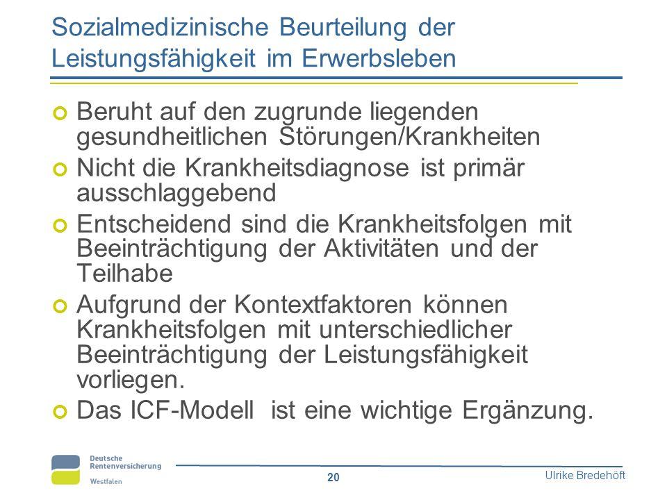 Ulrike Bredehöft 20 Sozialmedizinische Beurteilung der Leistungsfähigkeit im Erwerbsleben Beruht auf den zugrunde liegenden gesundheitlichen Störungen