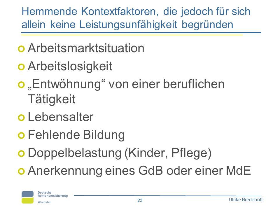 """Ulrike Bredehöft 23 Hemmende Kontextfaktoren, die jedoch für sich allein keine Leistungsunfähigkeit begründen Arbeitsmarktsituation Arbeitslosigkeit """""""