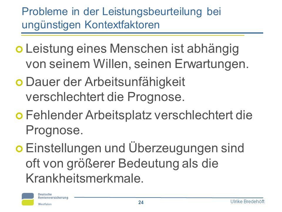 Ulrike Bredehöft 24 Probleme in der Leistungsbeurteilung bei ungünstigen Kontextfaktoren Leistung eines Menschen ist abhängig von seinem Willen, seine