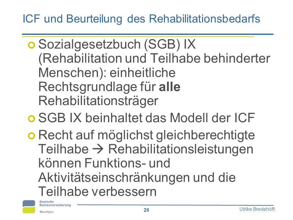 Ulrike Bredehöft 26 ICF und Beurteilung des Rehabilitationsbedarfs Sozialgesetzbuch (SGB) IX (Rehabilitation und Teilhabe behinderter Menschen): einhe