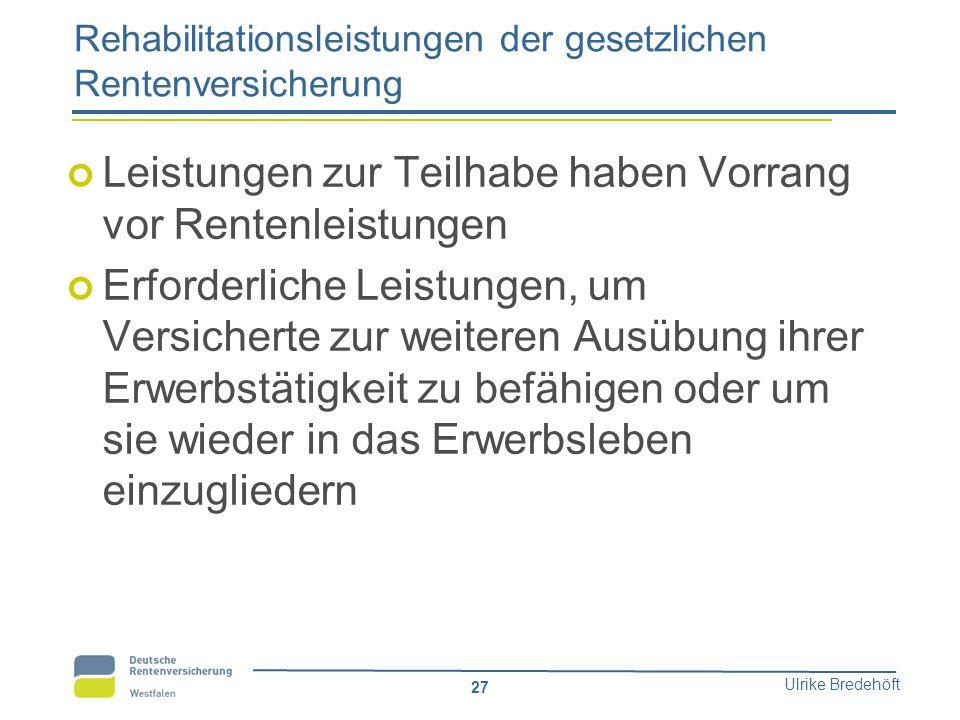 Ulrike Bredehöft 27 Rehabilitationsleistungen der gesetzlichen Rentenversicherung Leistungen zur Teilhabe haben Vorrang vor Rentenleistungen Erforderl