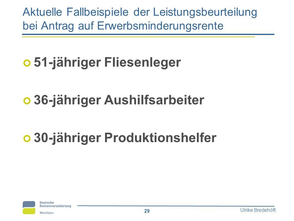 Ulrike Bredehöft 29 Aktuelle Fallbeispiele der Leistungsbeurteilung bei Antrag auf Erwerbsminderungsrente 51-jähriger Fliesenleger 36-jähriger Aushilf