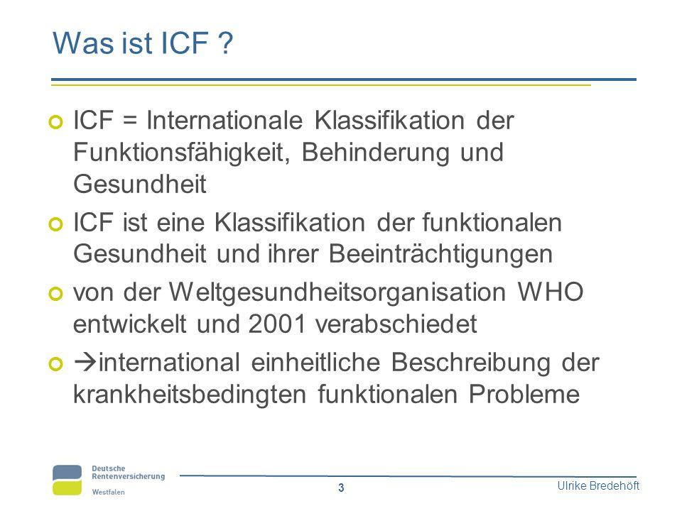 Ulrike Bredehöft 3 Was ist ICF ? ICF = Internationale Klassifikation der Funktionsfähigkeit, Behinderung und Gesundheit ICF ist eine Klassifikation de