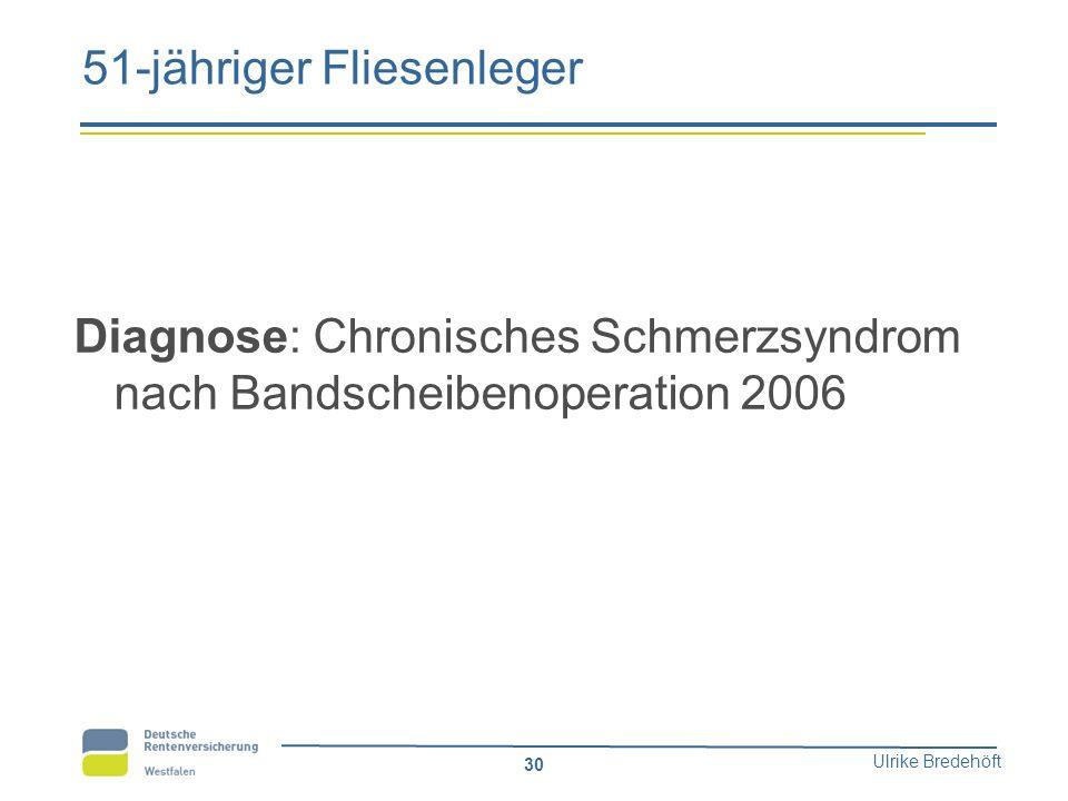 Ulrike Bredehöft 30 51-jähriger Fliesenleger Diagnose: Chronisches Schmerzsyndrom nach Bandscheibenoperation 2006