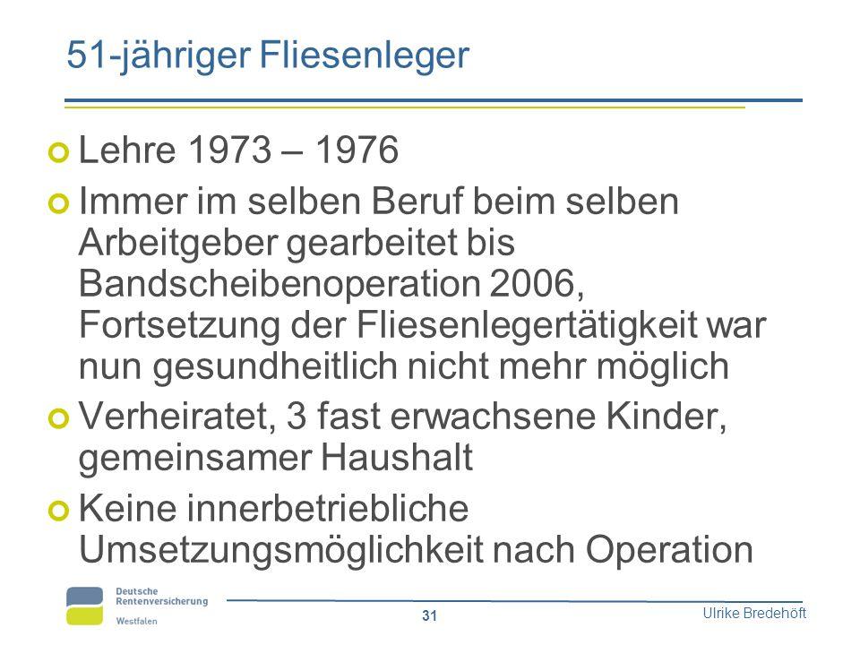 Ulrike Bredehöft 31 51-jähriger Fliesenleger Lehre 1973 – 1976 Immer im selben Beruf beim selben Arbeitgeber gearbeitet bis Bandscheibenoperation 2006