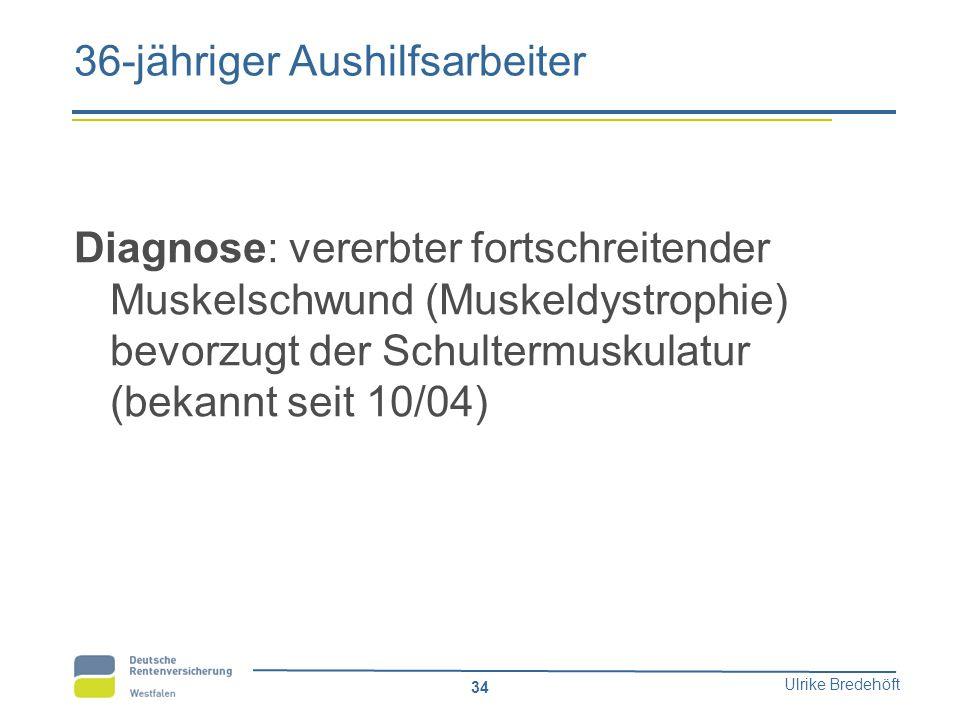 Ulrike Bredehöft 34 36-jähriger Aushilfsarbeiter Diagnose: vererbter fortschreitender Muskelschwund (Muskeldystrophie) bevorzugt der Schultermuskulatu