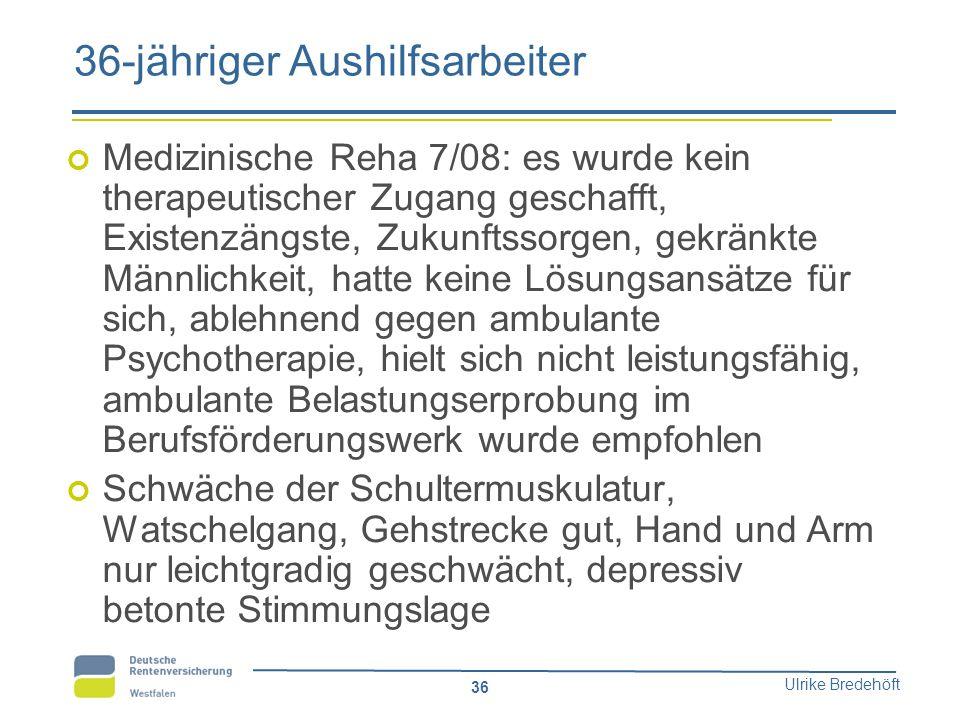 Ulrike Bredehöft 36 36-jähriger Aushilfsarbeiter Medizinische Reha 7/08: es wurde kein therapeutischer Zugang geschafft, Existenzängste, Zukunftssorge