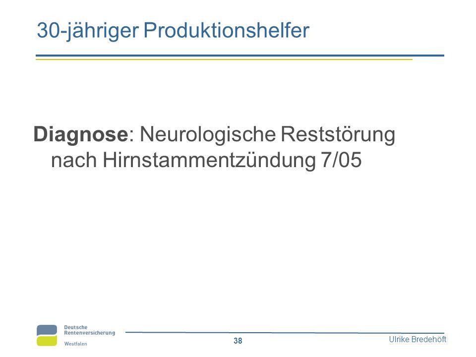 Ulrike Bredehöft 38 30-jähriger Produktionshelfer Diagnose: Neurologische Reststörung nach Hirnstammentzündung 7/05
