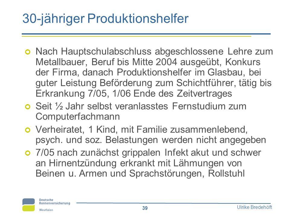 Ulrike Bredehöft 39 30-jähriger Produktionshelfer Nach Hauptschulabschluss abgeschlossene Lehre zum Metallbauer, Beruf bis Mitte 2004 ausgeübt, Konkur