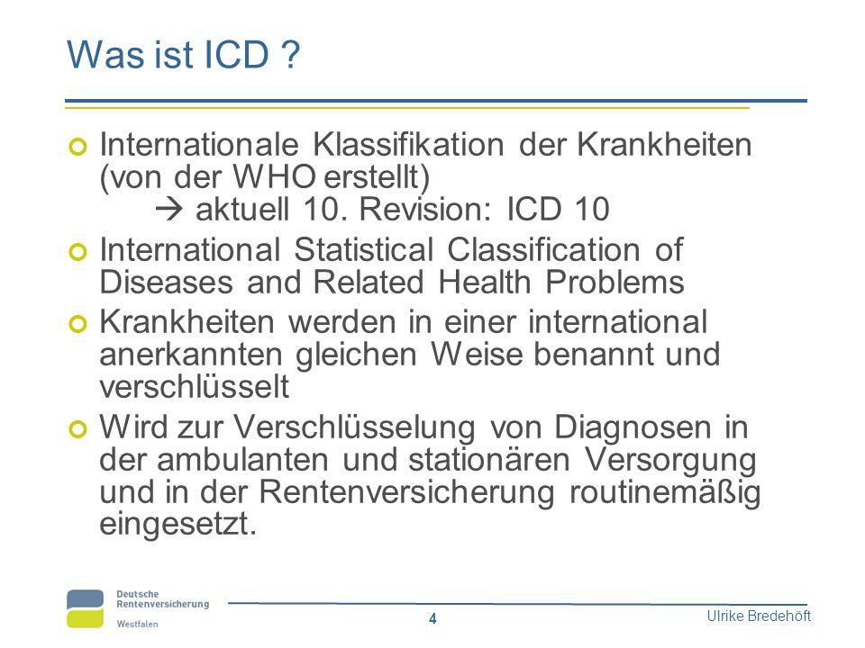 Ulrike Bredehöft 4 Was ist ICD ? Internationale Klassifikation der Krankheiten (von der WHO erstellt)  aktuell 10. Revision: ICD 10 International Sta