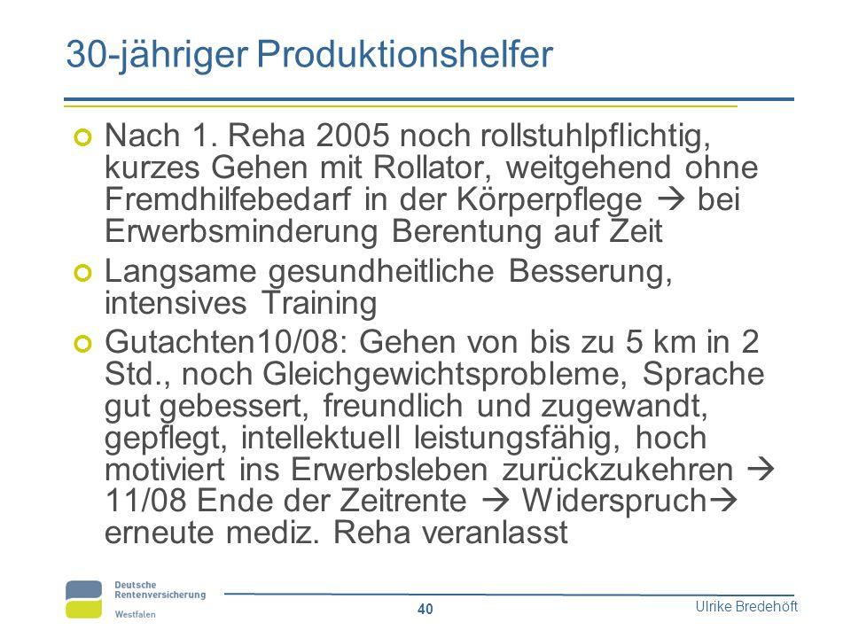 Ulrike Bredehöft 40 30-jähriger Produktionshelfer Nach 1. Reha 2005 noch rollstuhlpflichtig, kurzes Gehen mit Rollator, weitgehend ohne Fremdhilfebeda