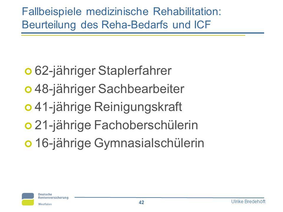Ulrike Bredehöft 42 Fallbeispiele medizinische Rehabilitation: Beurteilung des Reha-Bedarfs und ICF 62-jähriger Staplerfahrer 48-jähriger Sachbearbeit