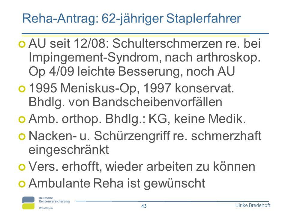 Ulrike Bredehöft 43 Reha-Antrag: 62-jähriger Staplerfahrer AU seit 12/08: Schulterschmerzen re. bei Impingement-Syndrom, nach arthroskop. Op 4/09 leic