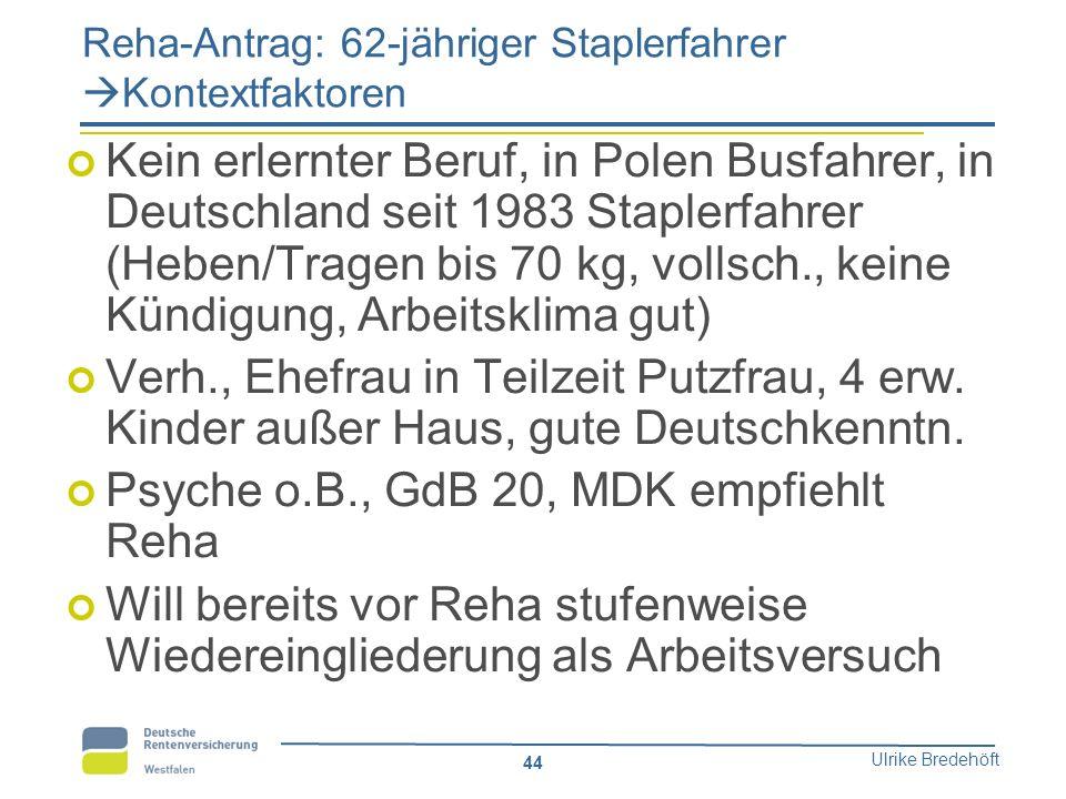 Ulrike Bredehöft 44 Reha-Antrag: 62-jähriger Staplerfahrer  Kontextfaktoren Kein erlernter Beruf, in Polen Busfahrer, in Deutschland seit 1983 Staple