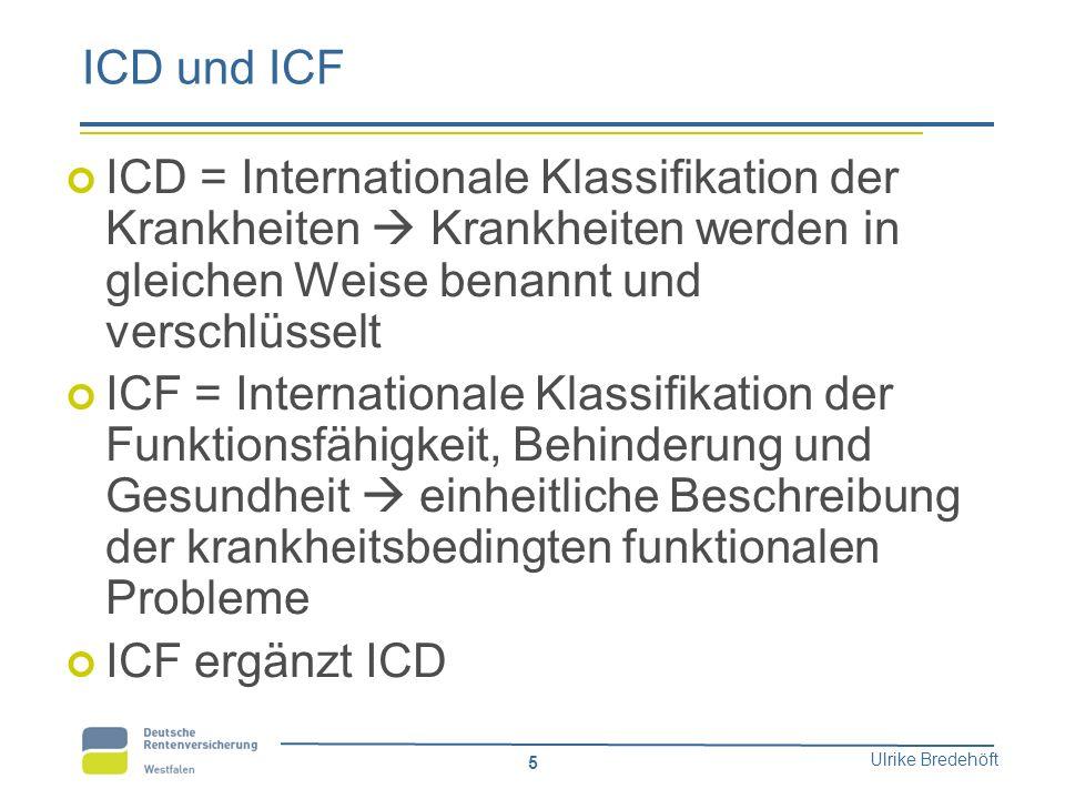 Ulrike Bredehöft 5 ICD und ICF ICD = Internationale Klassifikation der Krankheiten  Krankheiten werden in gleichen Weise benannt und verschlüsselt IC