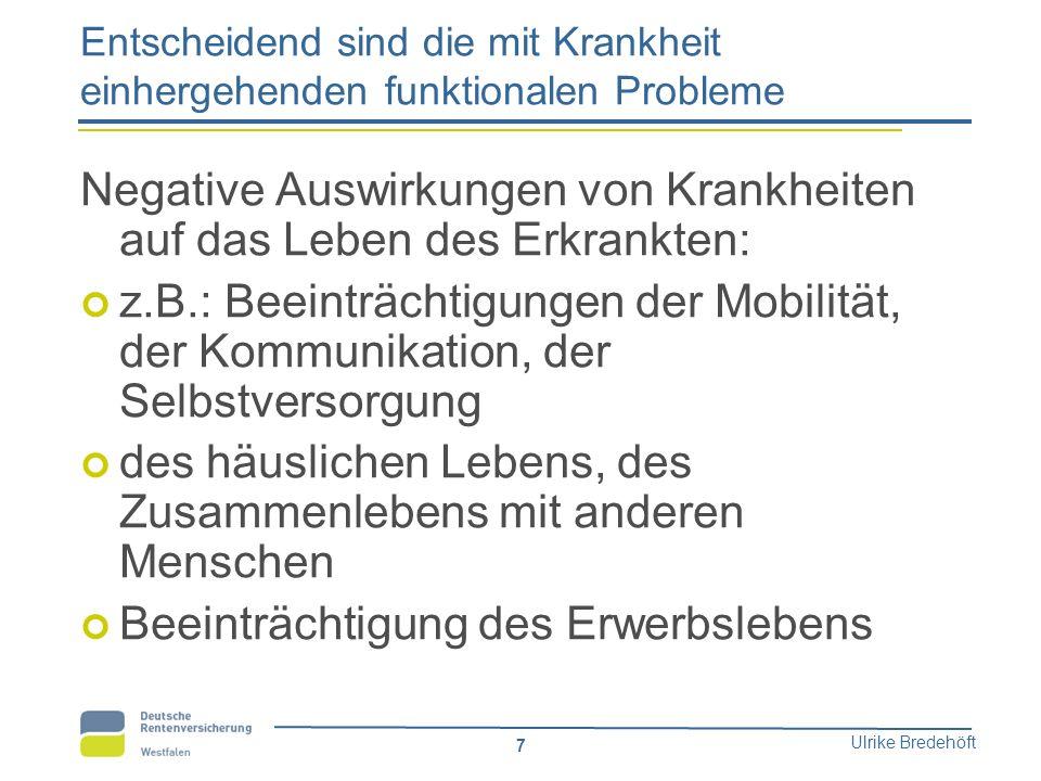 Ulrike Bredehöft 7 Entscheidend sind die mit Krankheit einhergehenden funktionalen Probleme Negative Auswirkungen von Krankheiten auf das Leben des Er