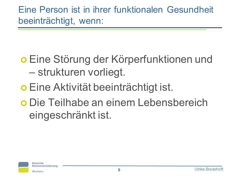 Ulrike Bredehöft 9 Eine Person ist in ihrer funktionalen Gesundheit beeinträchtigt, wenn: Eine Störung der Körperfunktionen und – strukturen vorliegt.