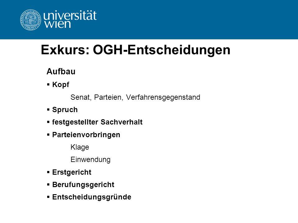 Exkurs: OGH-Entscheidungen Aufbau  Kopf Senat, Parteien, Verfahrensgegenstand  Spruch  festgestellter Sachverhalt  Parteienvorbringen Klage Einwen