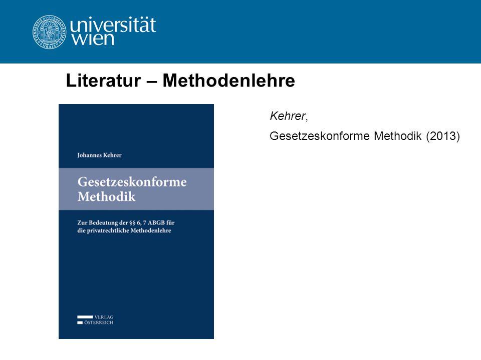 Literatur – Methodenlehre Kehrer, Gesetzeskonforme Methodik (2013)