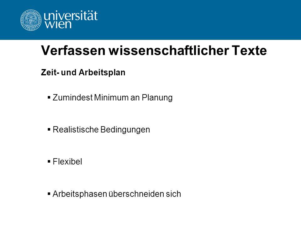 Verfassen wissenschaftlicher Texte Zeit- und Arbeitsplan  Zumindest Minimum an Planung  Realistische Bedingungen  Flexibel  Arbeitsphasen überschn