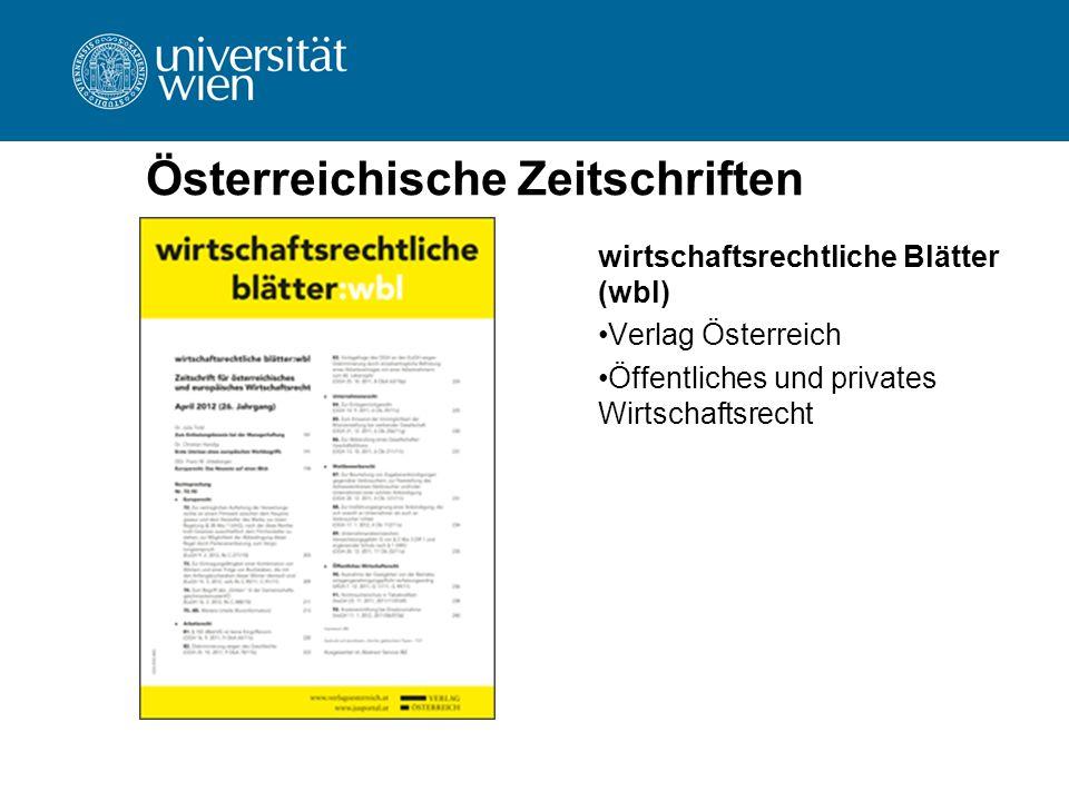 Österreichische Zeitschriften wirtschaftsrechtliche Blätter (wbl) Verlag Österreich Öffentliches und privates Wirtschaftsrecht