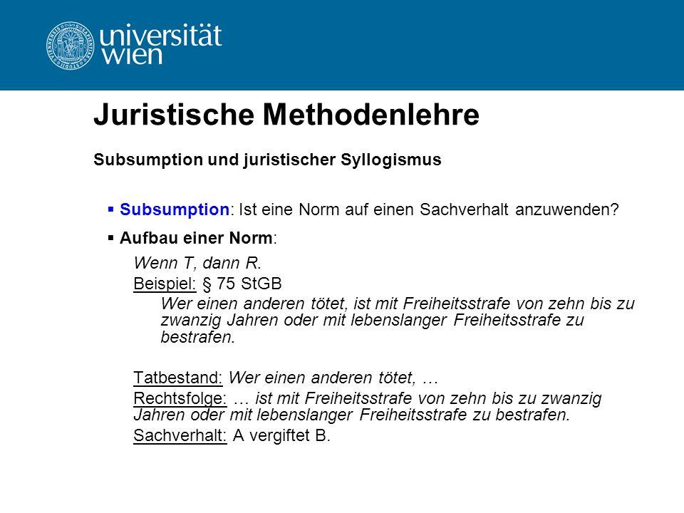 Juristische Methodenlehre Subsumption und juristischer Syllogismus  Subsumption: Ist eine Norm auf einen Sachverhalt anzuwenden?  Aufbau einer Norm: