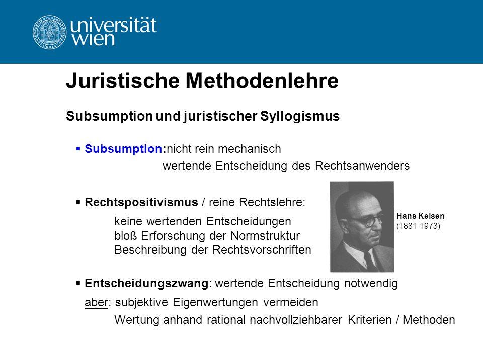 Juristische Methodenlehre Subsumption und juristischer Syllogismus  Subsumption:nicht rein mechanisch wertende Entscheidung des Rechtsanwenders  Rec
