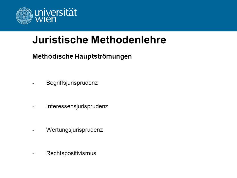 Juristische Methodenlehre Methodische Hauptströmungen -Begriffsjurisprudenz -Interessensjurisprudenz -Wertungsjurisprudenz -Rechtspositivismus