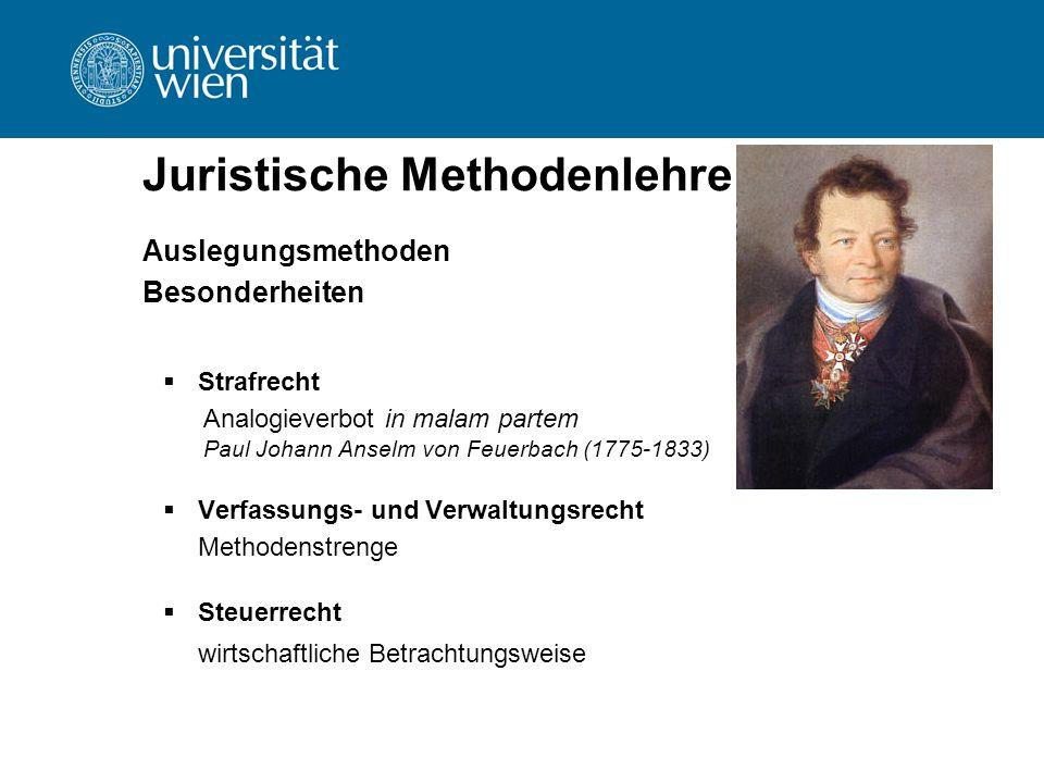 Juristische Methodenlehre Auslegungsmethoden Besonderheiten  Strafrecht Analogieverbot in malam partem Paul Johann Anselm von Feuerbach (1775-1833))