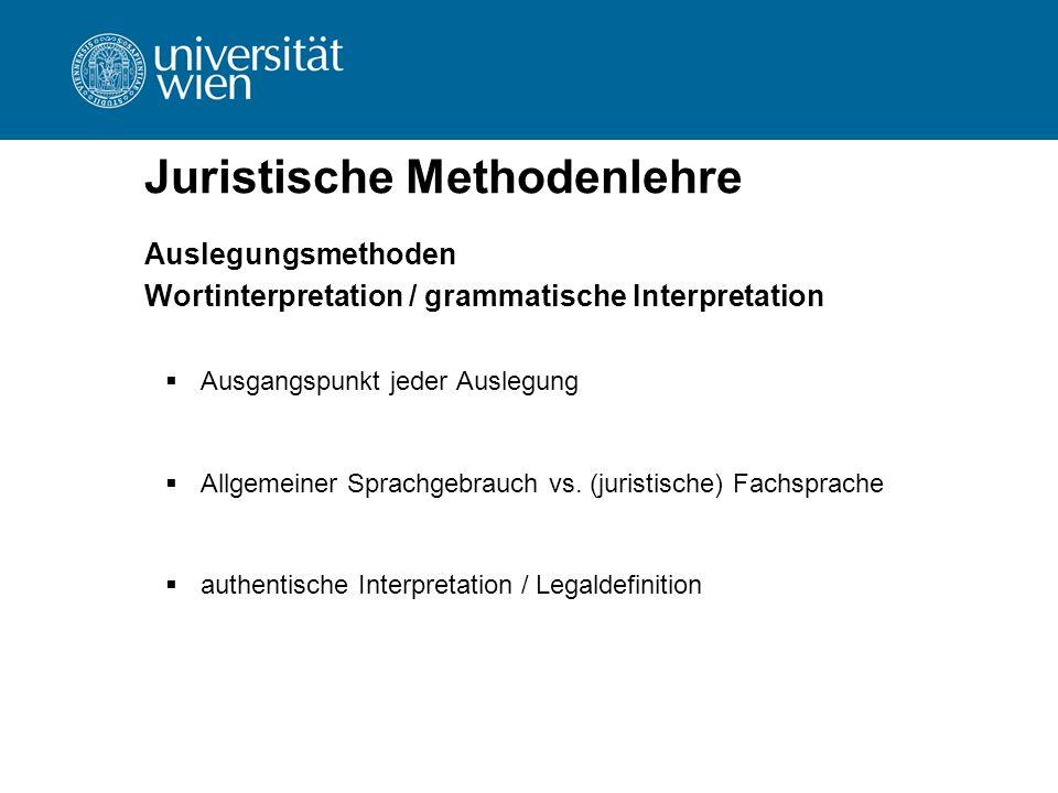 Juristische Methodenlehre Auslegungsmethoden Wortinterpretation / grammatische Interpretation  Ausgangspunkt jeder Auslegung  Allgemeiner Sprachgebr