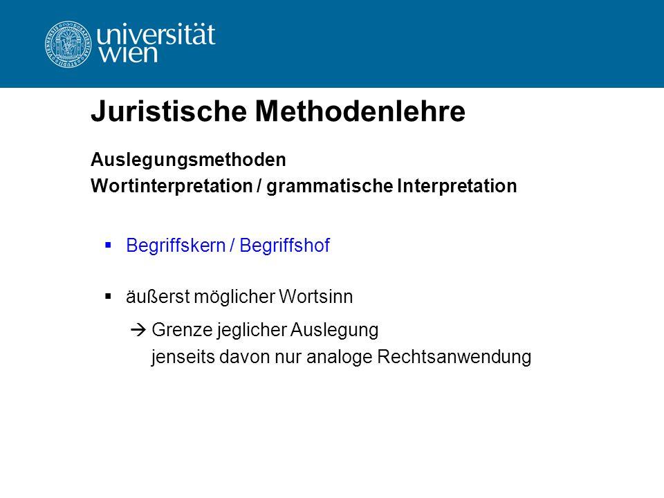 Juristische Methodenlehre Auslegungsmethoden Wortinterpretation / grammatische Interpretation  Begriffskern / Begriffshof  äußerst möglicher Wortsin