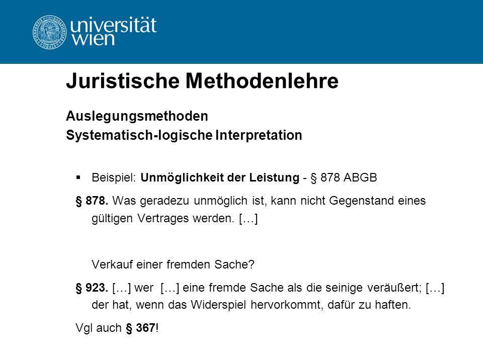 Juristische Methodenlehre Auslegungsmethoden Systematisch-logische Interpretation  Beispiel: Unmöglichkeit der Leistung - § 878 ABGB § 878. Was gerad