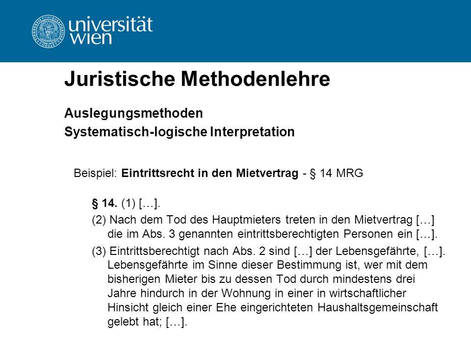 Juristische Methodenlehre Auslegungsmethoden Systematisch-logische Interpretation Beispiel: Eintrittsrecht in den Mietvertrag - § 14 MRG § 14. (1) […]