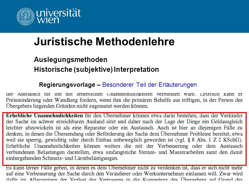 Univ.-Prof. Dr. Ernst Karner WS 2011/12 Juristische Methodenlehre Auslegungsmethoden Historische (subjektive) Interpretation Regierungsvorlage – Beson
