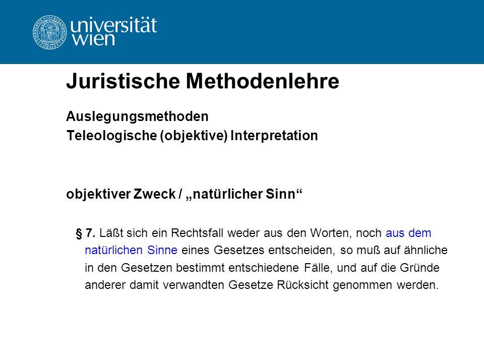 """Juristische Methodenlehre Auslegungsmethoden Teleologische (objektive) Interpretation objektiver Zweck / """"natürlicher Sinn"""" § 7. Läßt sich ein Rechtsf"""