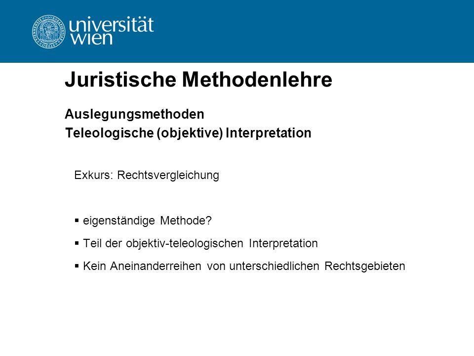 Juristische Methodenlehre Auslegungsmethoden Teleologische (objektive) Interpretation Exkurs: Rechtsvergleichung  eigenständige Methode?  Teil der o