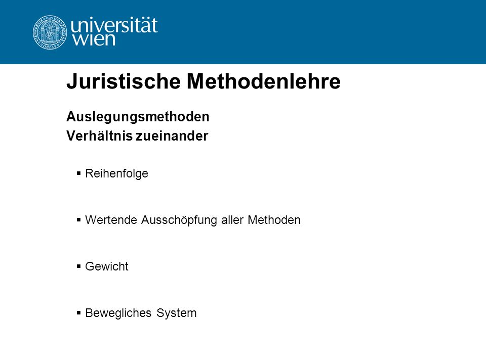 Juristische Methodenlehre Auslegungsmethoden Verhältnis zueinander  Reihenfolge  Wertende Ausschöpfung aller Methoden  Gewicht  Bewegliches System