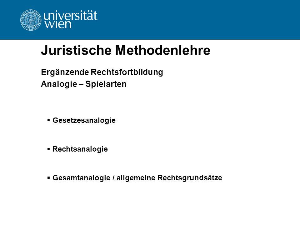 Juristische Methodenlehre Ergänzende Rechtsfortbildung Analogie – Spielarten  Gesetzesanalogie  Rechtsanalogie  Gesamtanalogie / allgemeine Rechtsg
