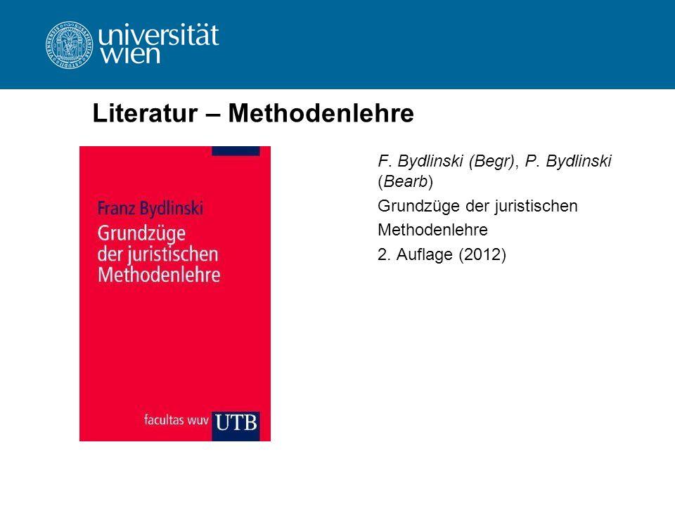 Literatur – Methodenlehre F. Bydlinski (Begr), P. Bydlinski (Bearb) Grundzüge der juristischen Methodenlehre 2. Auflage (2012)