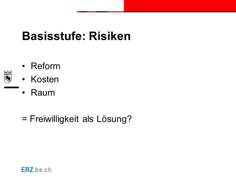 Basisstufe: Risiken Reform Kosten Raum = Freiwilligkeit als Lösung?