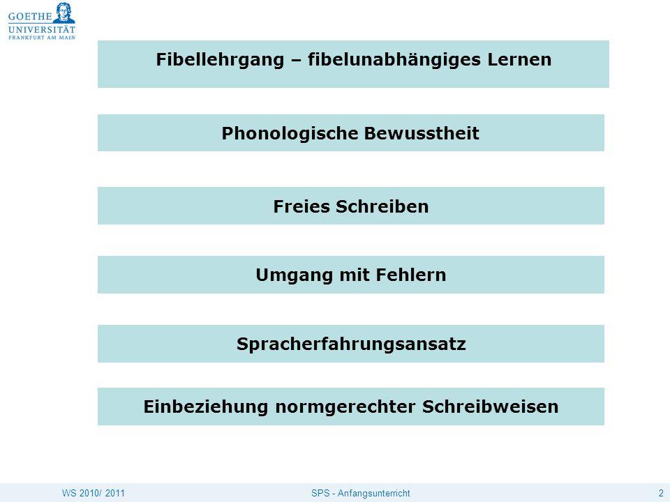 2SPS - AnfangsunterrichtWS 2010/ 2011 Fibellehrgang – fibelunabhängiges Lernen Phonologische Bewusstheit Freies Schreiben Spracherfahrungsansatz Umgan