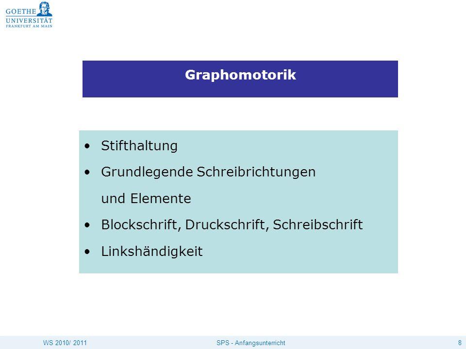8SPS - AnfangsunterrichtWS 2010/ 2011 Graphomotorik Stifthaltung Grundlegende Schreibrichtungen und Elemente Blockschrift, Druckschrift, Schreibschrif