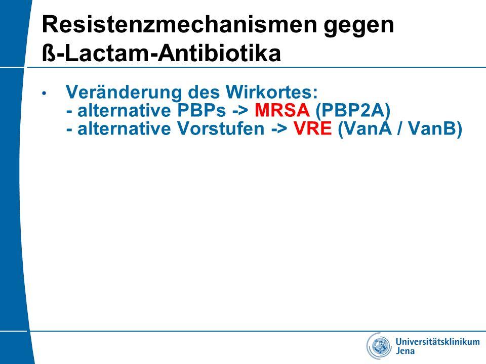 Resistenzmechanismen gegen ß-Lactam-Antibiotika Veränderung des Wirkortes: - alternative PBPs -> MRSA (PBP2A) - alternative Vorstufen -> VRE (VanA / V