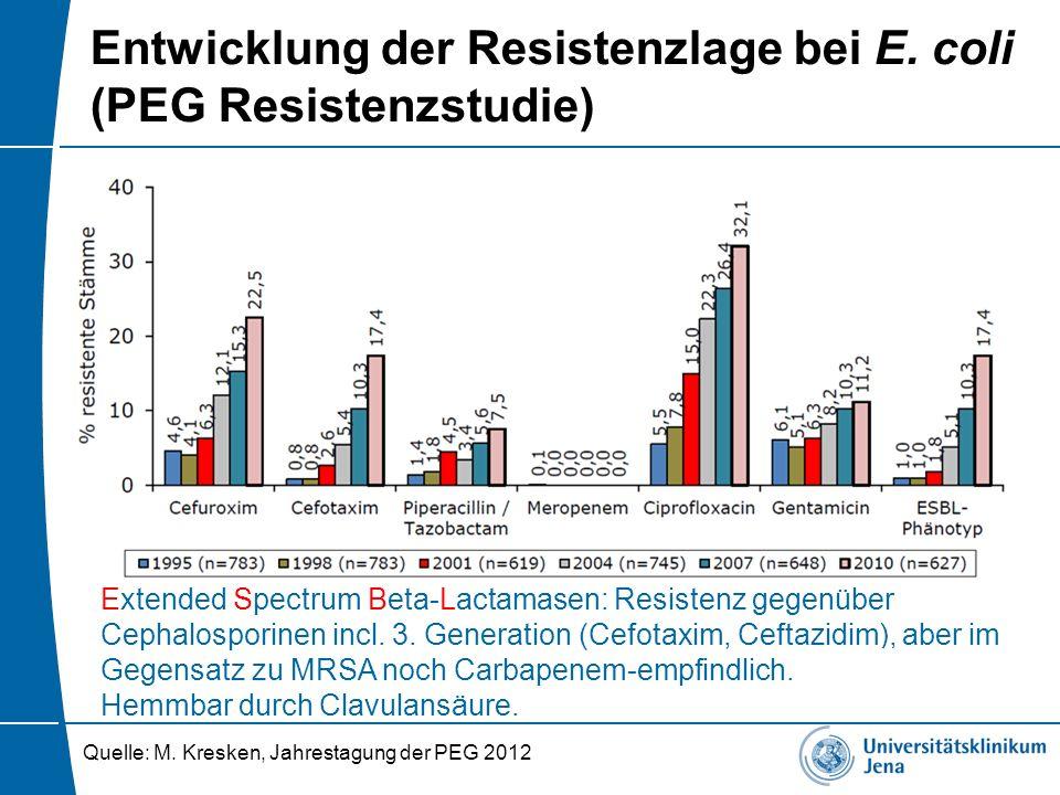 Quelle: M. Kresken, Jahrestagung der PEG 2012 Entwicklung der Resistenzlage bei E. coli (PEG Resistenzstudie) Extended Spectrum Beta-Lactamasen: Resis