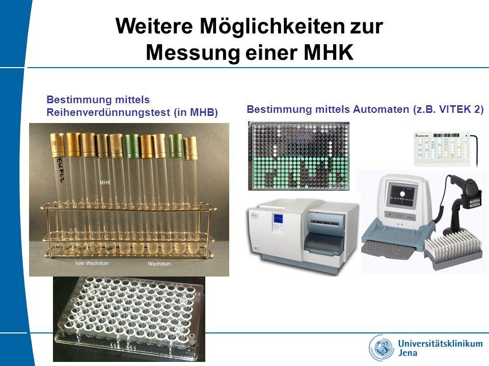 Weitere Möglichkeiten zur Messung einer MHK Bestimmung mittels Automaten (z.B. VITEK 2) Bestimmung mittels Reihenverdünnungstest (in MHB)