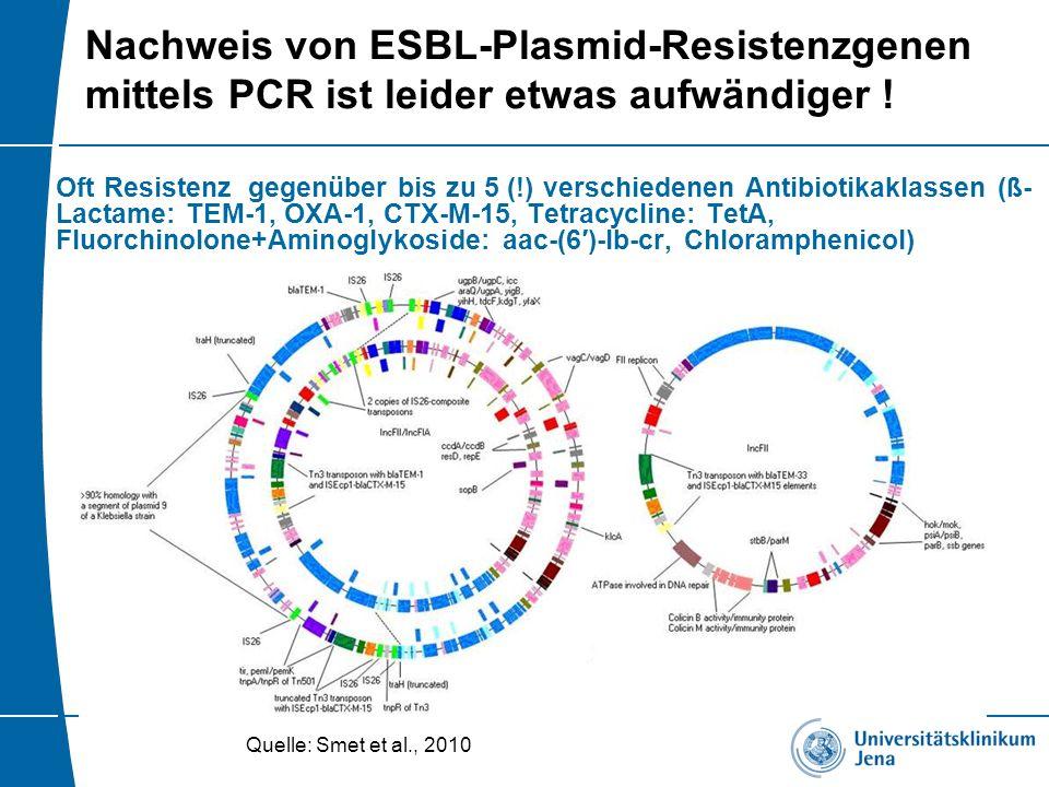 Nachweis von ESBL-Plasmid-Resistenzgenen mittels PCR ist leider etwas aufwändiger ! Oft Resistenz gegenüber bis zu 5 (!) verschiedenen Antibiotikaklas