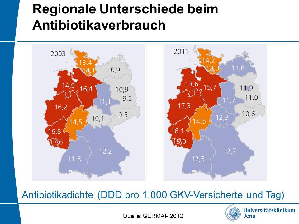 Regionale Unterschiede beim Antibiotikaverbrauch Antibiotikadichte (DDD pro 1.000 GKV-Versicherte und Tag) Quelle: GERMAP 2012