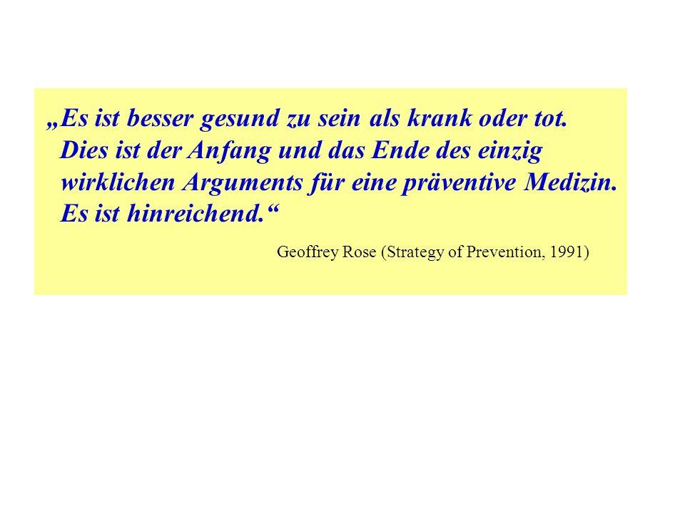 """""""Es ist besser gesund zu sein als krank oder tot. Dies ist der Anfang und das Ende des einzig wirklichen Arguments für eine präventive Medizin. Es ist"""